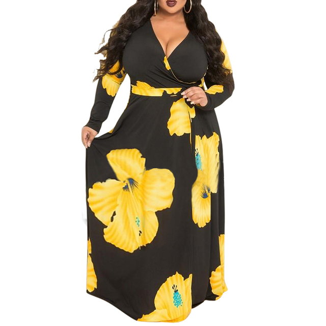 L-5XL women fat plus size dress 2018 New Fashion yellow Flower Print Maxi  Dress Women Casual Elegant Long Dresses D1194 b321d67fd441