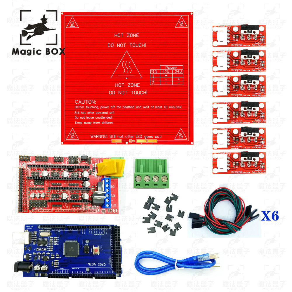 RAMPS 1.4 Controller +Mega 2560 R3 Development Board + Heated Bed MK2B + 6x Limit Switch Endstop CNC 3D Printer parts Kit цена