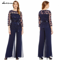 2018 Elegant Navy Blue Mother Of The Bride Dresses Chiffon Pants Suits Lace Top Sheer Jewel Neck Ribbon Belt 3/4 Long Sleeves