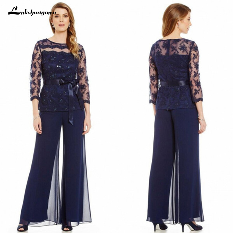 ce6a6fbad4eae 2019 Elegant Navy Blue Mother Of The Bride Dresses Chiffon Pants Suits Lace  Top Sheer Jewel Neck Ribbon Belt 3 4 Long Sleeves