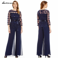 2019 Elegant Navy Blue Mother Of The Bride Dresses Chiffon Pants Suits Lace Top Sheer Jewel Neck Ribbon Belt 3/4 Long Sleeves