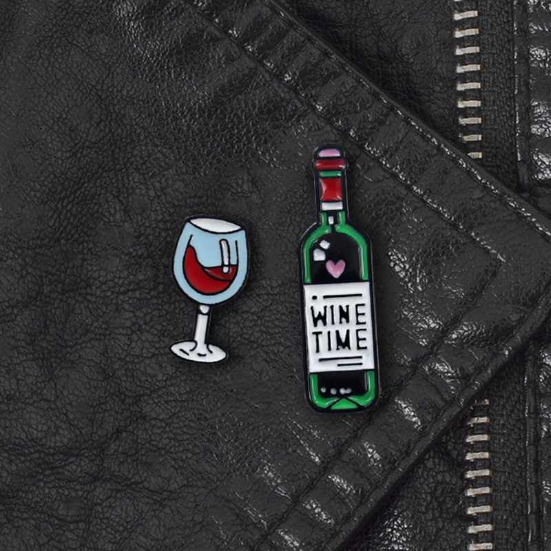Wine Enamel Pin Wine glass and Wine bottle Brooches Wine Tiny Metal Brooch Pins Badge Gift for Women Men Lover