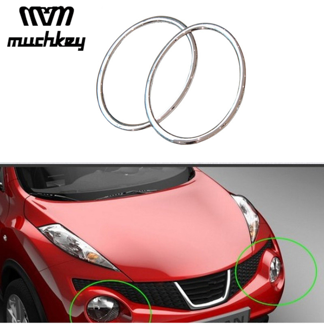 For Nissan Juke 2010 2014 Car Styling Head Lamp Front Bumper Headlight Ring Trim Cover Abs Chrome Auto Accessories 2pcs