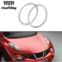 Для Nissan Juke 2010-2014 стайлинга автомобилей Глава лампа передний бампер фар кольцо накладка Abs Chrome Авто аксессуары 2 шт. комплект