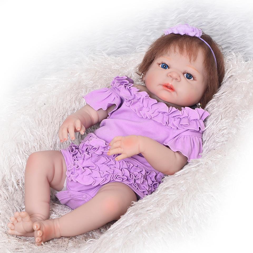 Peau blanche russe Reborn bébé fille poupées pleine Silicone vinyle 23 ''Bonecas vivant bebe Brinquedos bébé poupée à vendre enfants cadeau