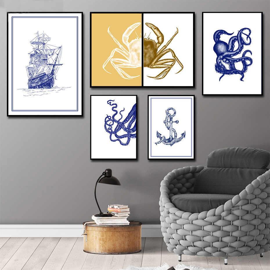 Fantasi Laut Legenda Dinding Art Lukisan Realistis Menggambar Sketsa Gambar Nordic Vintage Poster & Cetak Kamar Tidur Dekorasi Rumah