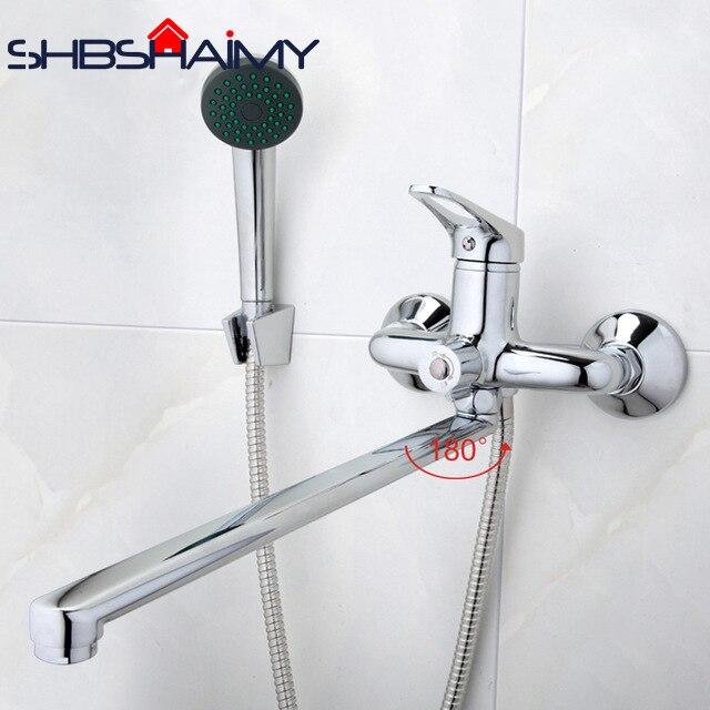 Salle de bains Mélangeur 40 cm acier inoxydable long nez de sortie en laiton robinet de douche