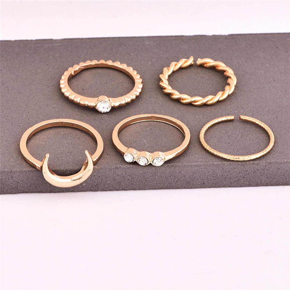 สั้น 5 ชิ้น/เซ็ต CZ คริสตัล Midi แหวน Bohemian Moon Charms แหวนพังค์เครื่องประดับของขวัญวันวาเลนไทน์ anel