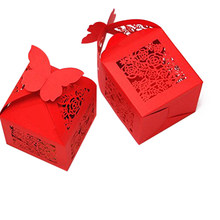 50pcs Roses Laser Cut Favor Candy Box with Ribbons Bridal Shower Wedding Party Favors (Red)(China)