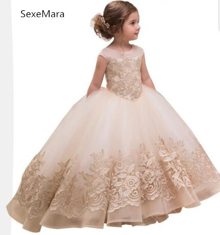 ffbed10d2 Lovely Champagne Lace Appliques Ball Gowns Flower Girls Dress with Bow  Princess First Communion Gown Birthday Party Dress