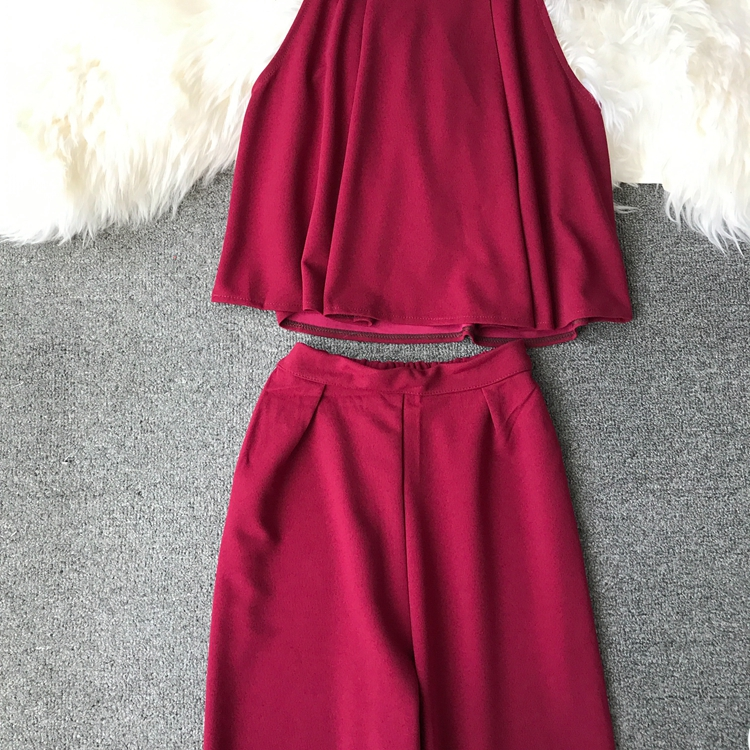HTB1BWAtVCzqK1RjSZFjq6zlCFXae - two piece set women fashion sexy short top and long pants casual sleeveless Elastic high waist female summer festival clothing