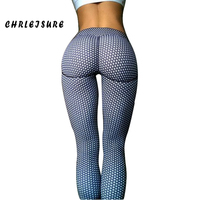 CHRLEISURE Push Up Leggings Print Women Polyester Ankle Length White Dot Pants Breathable Casual Slim Women
