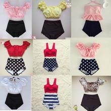 Women Ruffle Solid Top Striped Pink Swimwear Teens Swimsuit Junior Bikini Set Padded Bathing Suit High Waist May M-XL