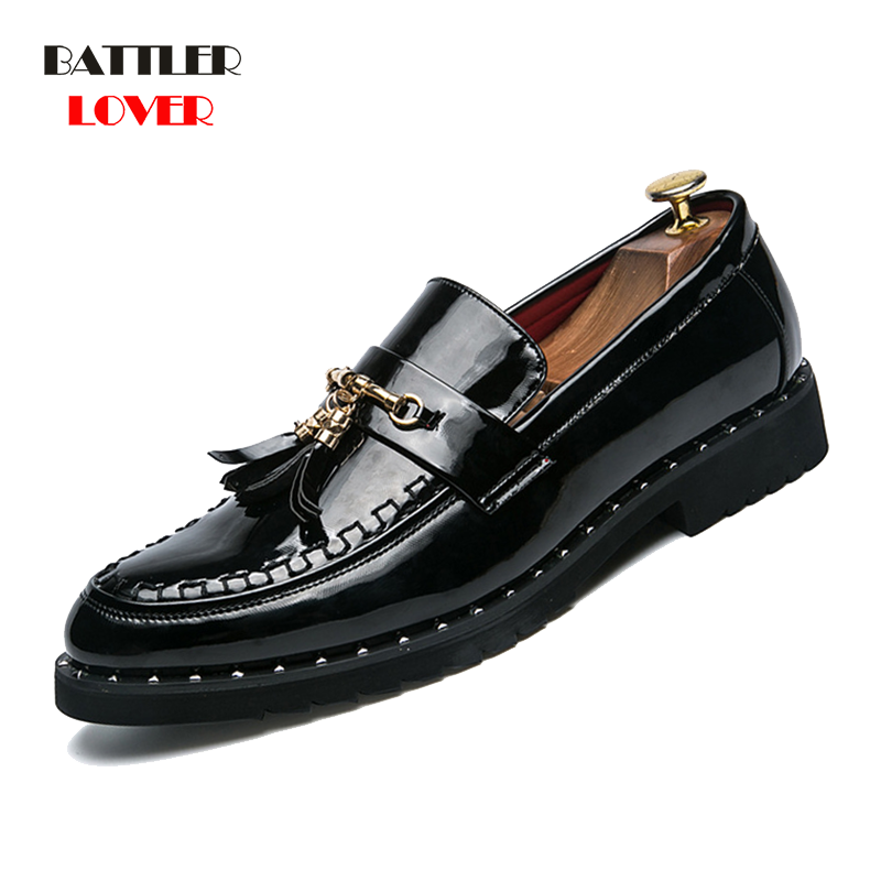 2019 New Patent Leather Shoes Men Tassel Penny Loafers Black Casual Shoes Fashion Mens Moccasin Wedding Party Shoes Dropshipping