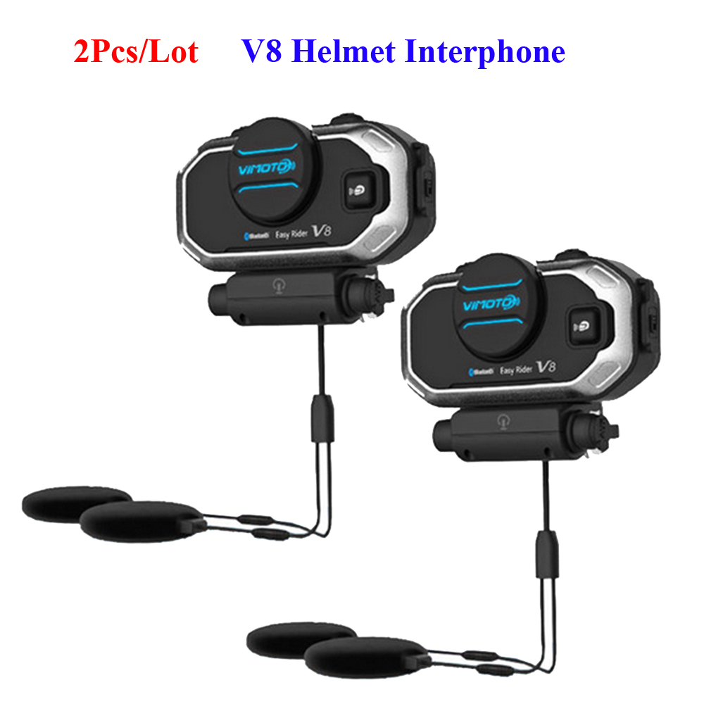 2PCS/Lot V8 Waterproof Helmet Headset Multi-functional 2 Way Radio BT Interphone V8 Bluetooth Helmet Intercom Heasets 2016 newest bt s2 1000m motorcycle helmet bluetooth headset interphone intercom waterproof fm radio music headphones gps