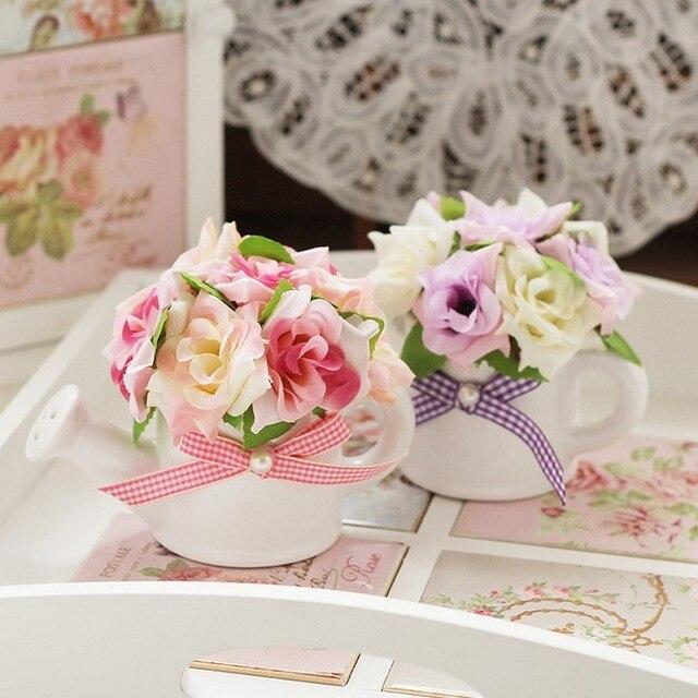 Incroyable Decoration Avec Des Fleurs #9: De Douche En Céramique Vase Avec Artificielle Fleur Rose Bonsaï Décoration  De La Maison Fleur Artificielle