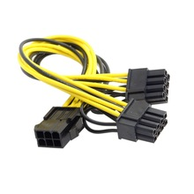 Jimier  PCI-E PCI Express ATX 6Pin Male to Dual 8Pin & 6Pin Female Video Card Extension Power Splitter Cable 50pcs lot cpu 8pin to graphics video card double pci e pcie 8pin 6pin 2pin power supply splitter cable cord 15cm