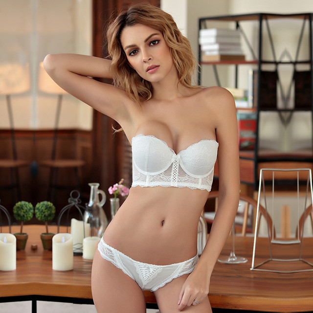 426fcfe91bb Push Up Lace Bra Set 1 2 Cup Underwear Sexy Transparent Bra and Panty Sets  Female 5 Rows Buckle Comfortable Bra Lingerie Sets