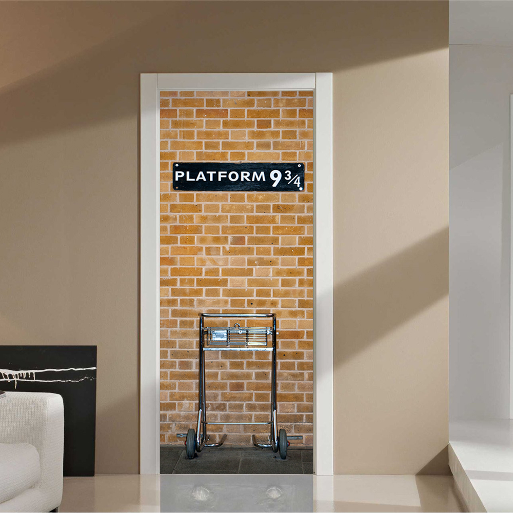 Funlife 77x200cm Harry Potter Platform 9 3/4 Design Self adhensive DIY Door Poster Decal for Home Decoration DM007-in Wall Stickers from Home u0026 Garden on ... & Funlife 77x200cm Harry Potter Platform 9 3/4 Design Self adhensive ... pezcame.com