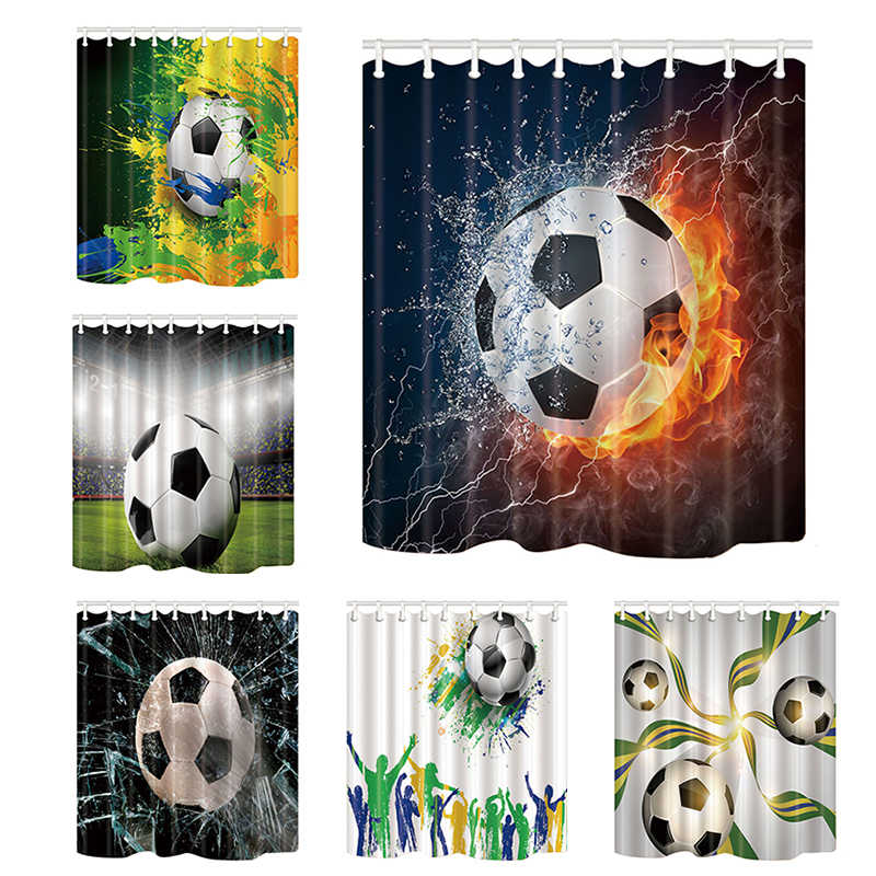 Creative Design Shower Curtains Football Bath Screen Home Decor Polyester Fabric Waterproof and Mildew Proof with Plastic Hooks