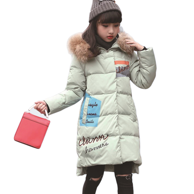 8 9 12 14 15 Years Kids Down Jacket Hooded Winter Warm Girl Parka Long Coat Thick Fur Collar Teenage Girls Clothing Outerwear 2017new women s winter cotton jacket long section fur collar hooded outerwear high quality thick warm parka female overcoatlu408