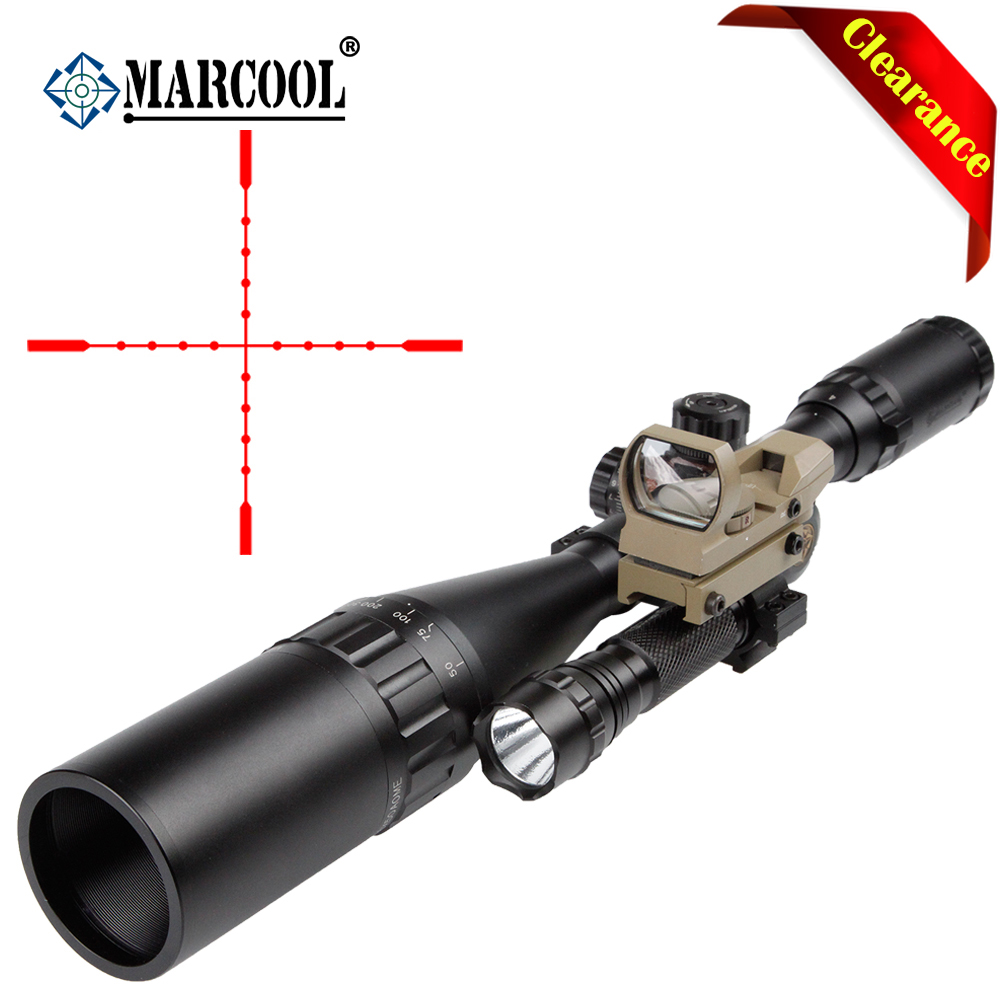 Marcool EST 4 16X50 AOIRGBL luneta para rifle Red Dot Airsoft Air Rifle Optics Guns Telescopic Scope Sight Aim Hunting