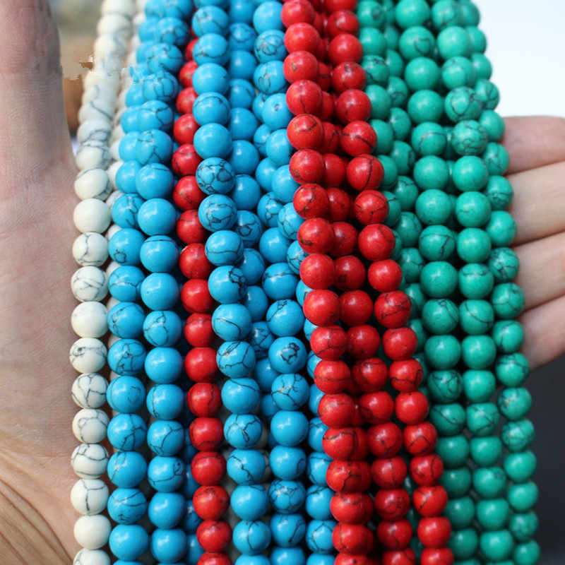 "Smooth DIY Natural Stone Blue White Green Turquoises Round Loose Beads 15"" Strand 4 6 8 10 12 MM Pick Size For Jewelry Making"
