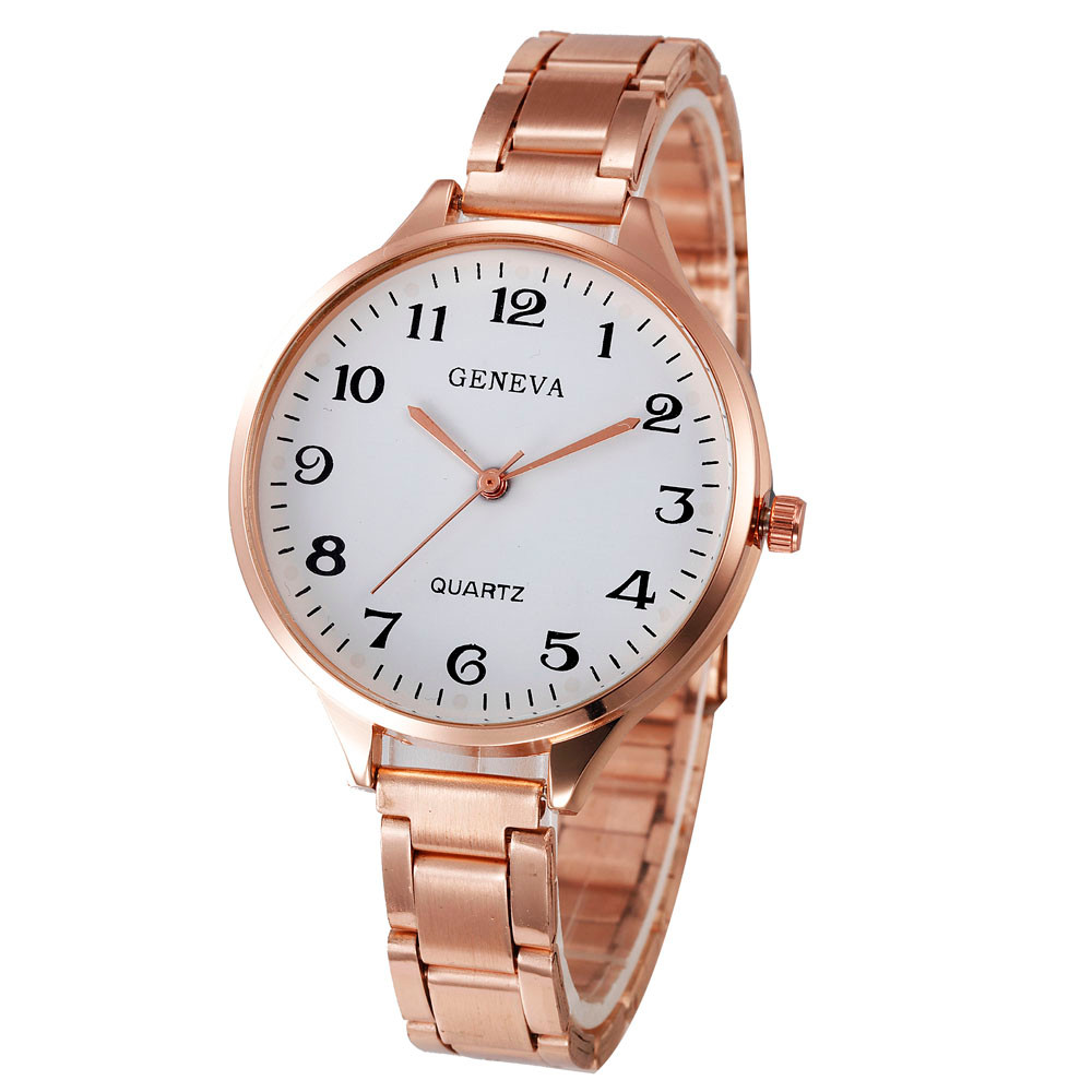 Kol Saati Rose Gold Womens Stylish Fashion Watch Roman Numberals Stainless Steel Big Dial Watch Quartz Sports Watch Relogio Fi