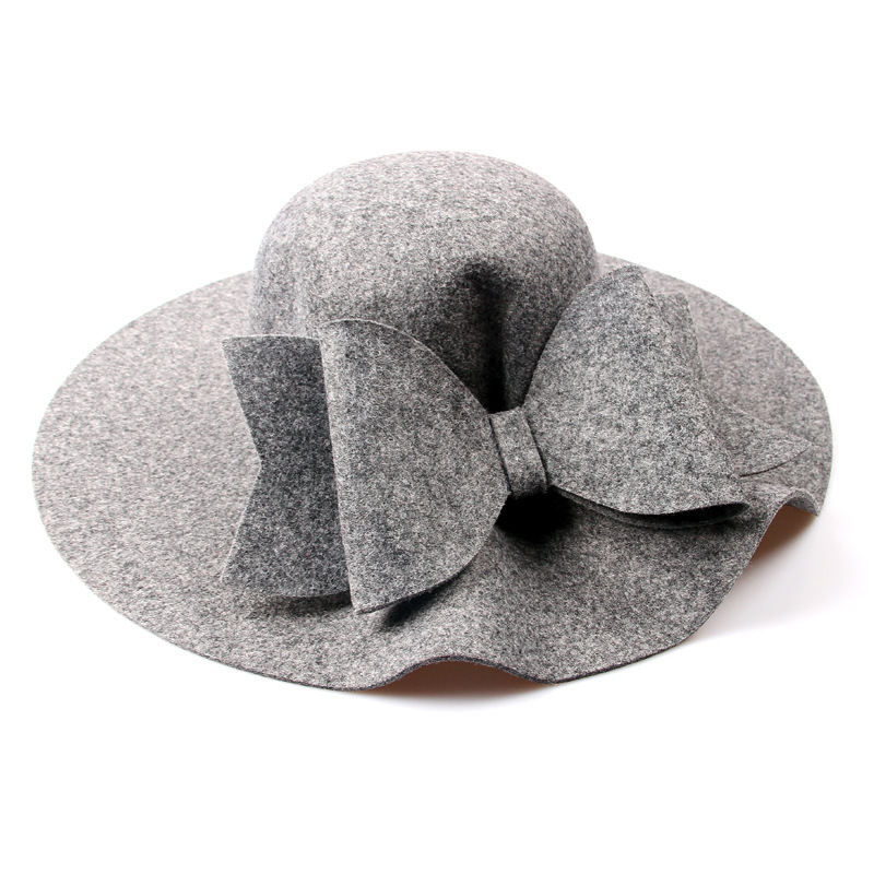2018 New Australia Wool Felt Hat England Women Fedora Hat Wide Brim Hats With Big Bowknot For Elegant Lady Hat Christmas GIfts