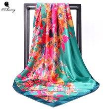 ad329d36d938 Dropshipping Soie Écharpe 90 90 cm Nouvelle Arrivée Brand Design Satin Big  Carré Hijab Imprimé, femmes Foulard Mouchoir