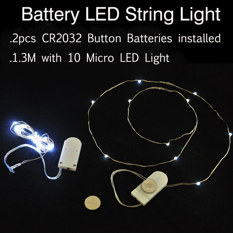 Luci A Led A Batteria.Us 159 0 100pcs Lot Cr2032 Cell Battery Operted Micro Mini Led Fairy String Lights 1m With 10led For Wedding Party Home Decoration In Led String