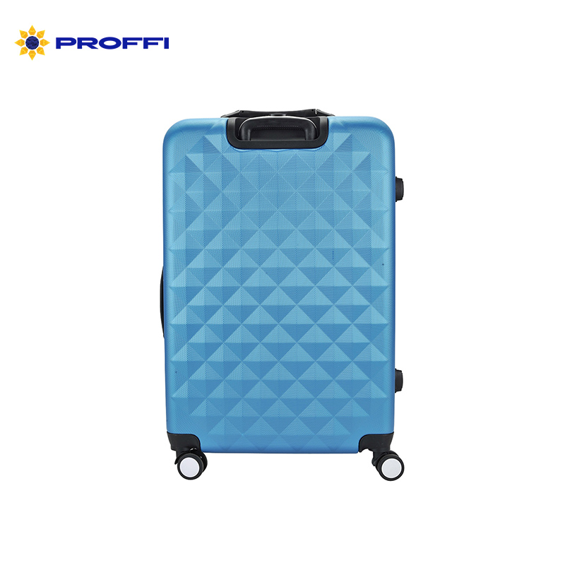 Bright blue suitcase PROFFI TRAVEL PH8646 darkblue L plastic, with built-in scales, large on wheels