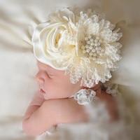 1 pieza niños Rosa chifón flores encaje strass diadema niñas tela flores rheadbands Niños Accesorios para el cabello
