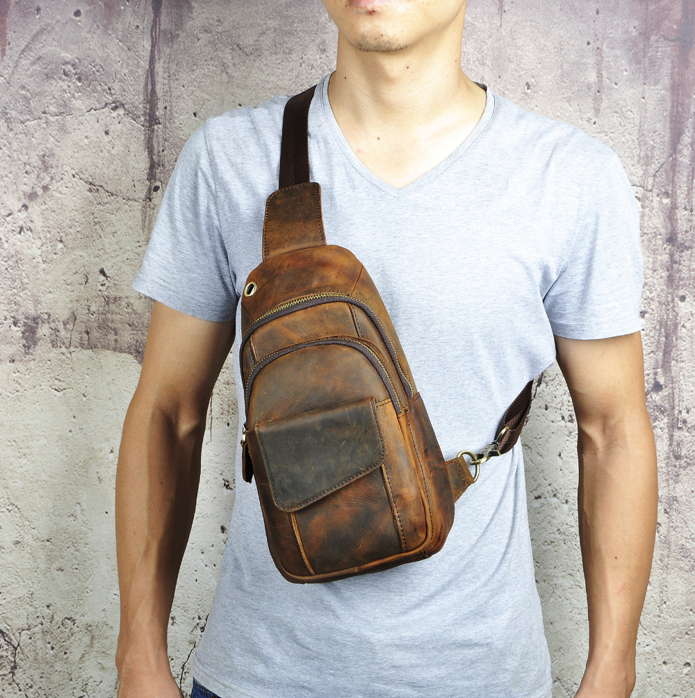 "Image 3 - Hot Sale Men Crazy Horse Leather Casual Fashion Chest Sling Bag 8"" Tablet Design One Shoulder Bag Cross body Bag Male 8013 d-in Waist Packs from Luggage & Bags"