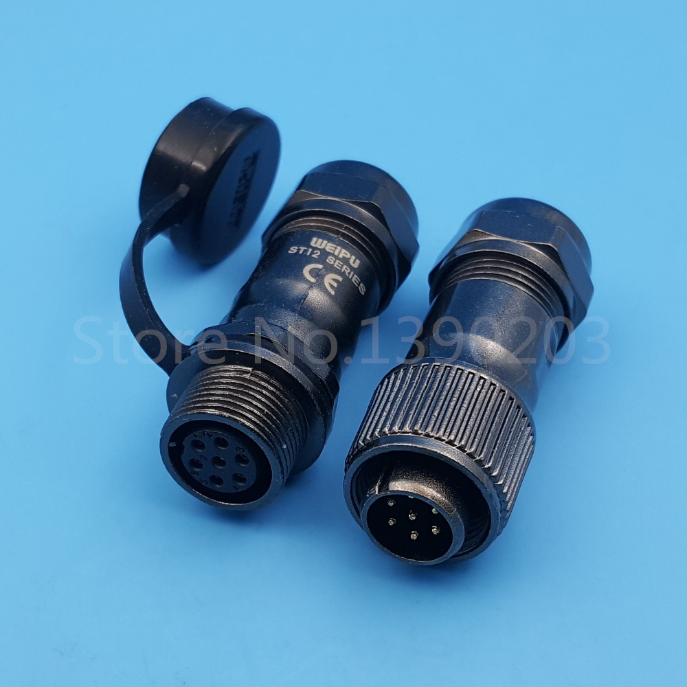 1Set 7Pin ST12 Metal Waterproof IP67 Cable Butt Circular Aviation Connector 5A/125V 1set sf12 3pin waterproof metal push pull ip67 12mm chassis panel mount circular aviation plug connector 13a 250v