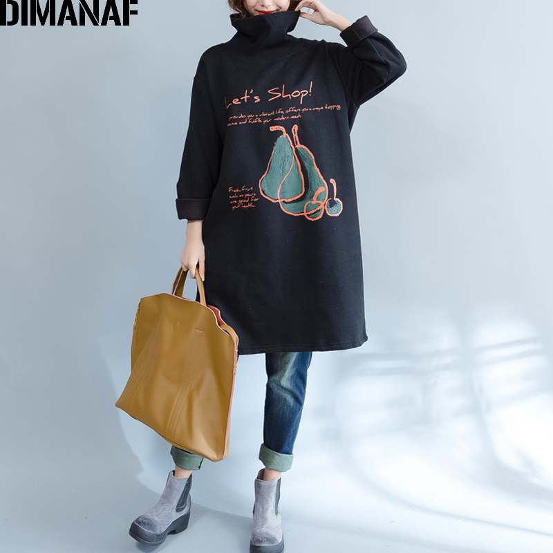 DIMANAF Women Plus Size Hoodies Sweatshirts Thicken Female Clothes Long Pullover Turtleneck Tops Loose Rrint 2019 Autumn Winter
