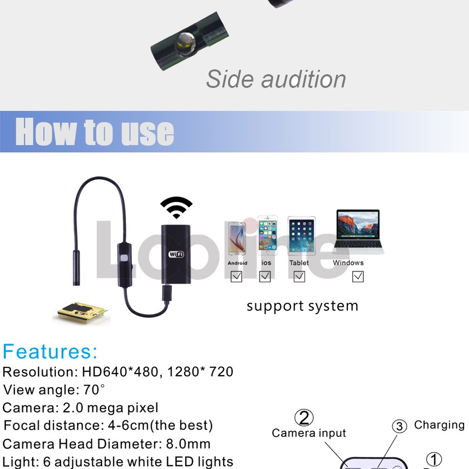 6 LEDs 5MM USB Endoscope Camera IP67 Waterproof Snake Inspection Borescope Video Tube Pipe USB MINI Camera With 5M Rigid Cable 7