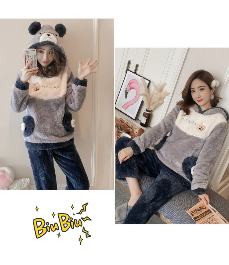 Winter Women Pajama Flannel Sleepwear Long Sleeves Hot Pajamas For Women Velvet Pajama Women Soft Clothing 103