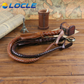 LOCLE Hand Made Braided Riding Whips for Horse Racing 100% Genuine Bull Leather Equestrian Horse Whip Riding Crop