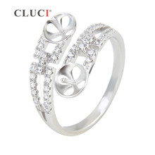 CLUCI Double-end Ring Fitting to stick 2 pearls for elegant women Bague Bijoux Sterling Silver Wedding/Engagement Ring Accessory