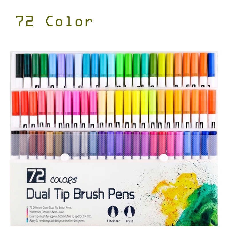 36 x Dual Felt Tip Pens Children Colouring Activity Brush /& Fine Tips