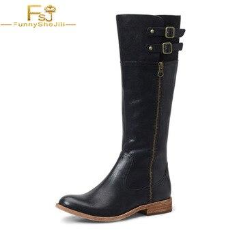 Vegan Boots Black Horse Riding Flat Knee Boots Cowboy Botas de rodilla ZIP Buckle Vintage Women Shoes Leather Round Toe Autumn