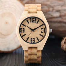 2017 New Arrival Luxury Simple Fashion Men's Quartz Wristwatch Full Hand-make Bamboo Design Case Number Dial Cool Watch Gift