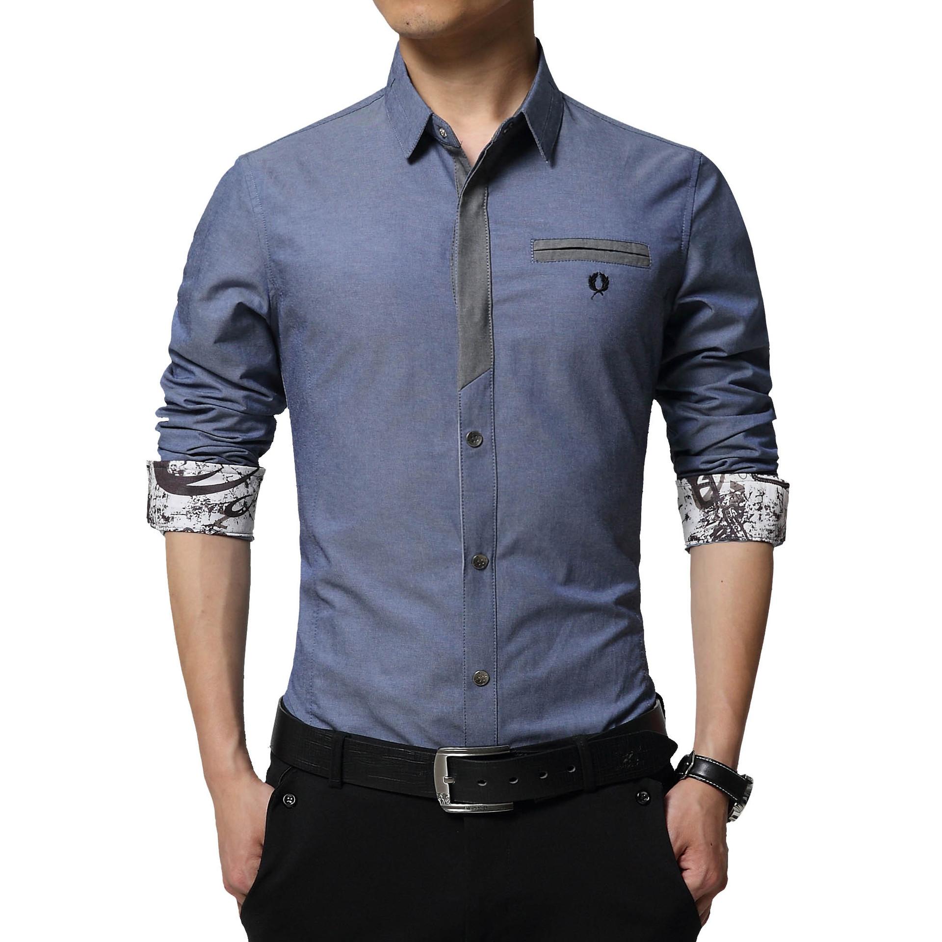 Floral Print Striped Dress Men Shirt Uniform Mens Long Sleeve Slim Fit Top Vintage Cotton Button Down Shirts Camisa Masculina 41