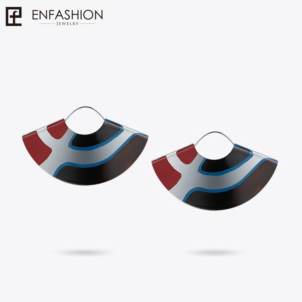Enfashion Lacquer Art Series Parallel curves Drop Earrings Fan Shape Big Silver Color Earrings for Women Earings EBQ18LA54 серьги art silver art silver ar004dwzmh30