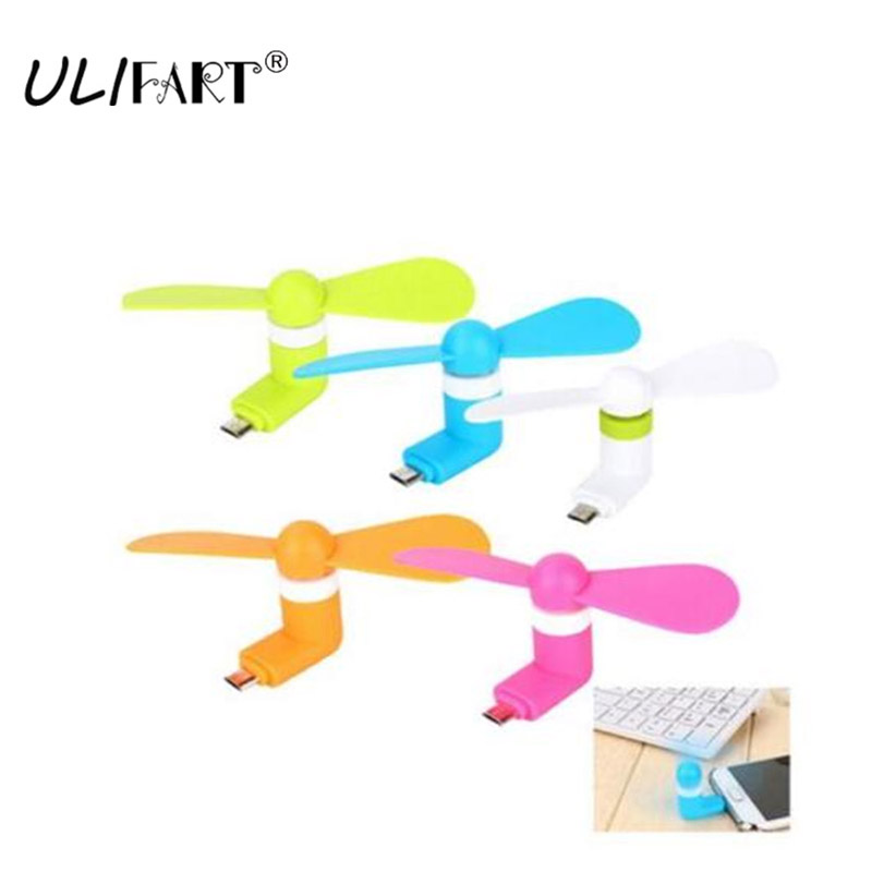 ULIFART DHL 100pcs lot Portable Mini Micro USB Mobile Phone Fan For Samsung XIAOMI