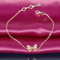 Solid 18K Rose Gold Diamond Bracelet 0.03ct Butterfly Charm 18cm Handmade Fine Jewelry for Women Customized