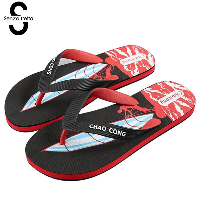 Senza Fretta Summer Men Slippers Flip Flops Outdoor Men Flip-flops Cartoon Pattern Flip Flops Beach Men Shoes Slippers Plus Size senza fretta summer women indoor flip flops high heel flowers slippers thick beach flip flops sandals wedges platform slippers