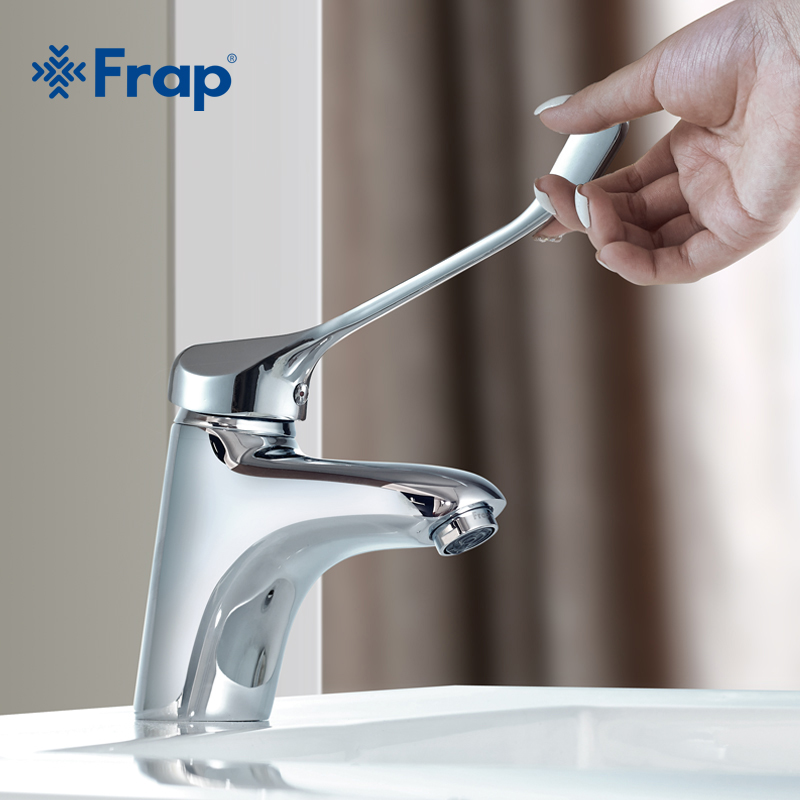 Frap Brass Long Handle Chrome Bathroom Basin Faucet Mixer Tap Deck Mounted Sink Medical Hygiene Faucet Hot And Cold Faucet F1054