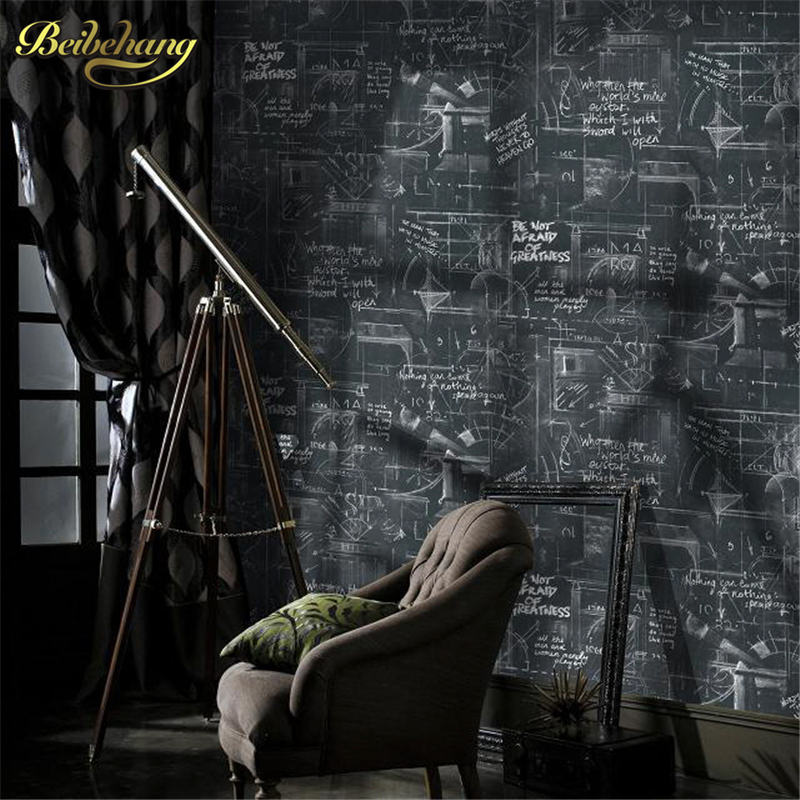 beibehang wall paper Poster modern abstract lines wallpaper black blackboard vintage wallpaper for walls 3 d papel de parede
